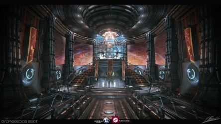 throne room sci fi futuristic space fantasy environment cinematic nintendo universe rooms concept created 3d textures artstation imagineering movies outside