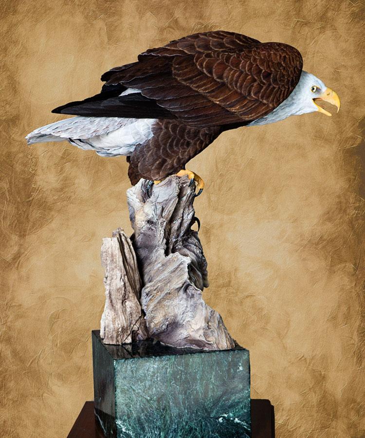 Floyd Scholz Master Carver Bald Eagle Carving Vigilance