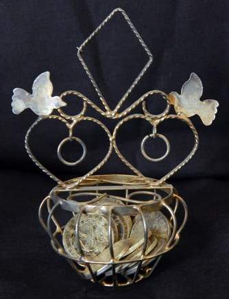"""Pledge that groom will support bride-Philippines-Roman Catholic/Latino-Metal basket, thirteen coins adorned by hearts, rings, doves-3 1/2""""x2 3/4""""x1 3/4""""-each coin 3/4"""""""
