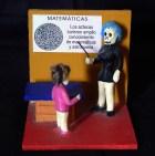 Skeleton math teacher with pupil