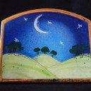 "Pastoral scene with moon and stars for decoration.-England-Pop culture-Enamel on ceramic-3 1/2"" x 4 1/4"""