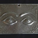 Affixed to saint-Requests cure for eyes/Gives thanks for cure for eyes-Mexico/USA-Roman/Catholic/Latino-Tin-2 1/4' x 3""