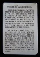 Prayer card to St. Charbel (back)