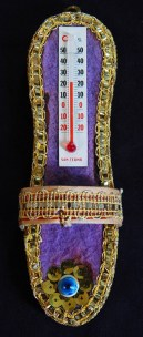 "Protection from evil eye-Armenia-Armenian-Gold sequins/Thread/Felt/Thermometer/Evil eye-6"" long"