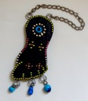 "To hang on wall for protection from evil eye-Armenia, Middle East-Middle Eastern-Wood/beads/metal/evil eye-9"" long"