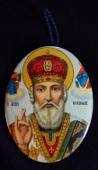"""Hangs on wall for protection/blessings-Greece-Greek Orthodox-Metal/Printed image-3"""" x 2'"""
