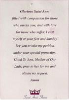 Prayer card to St. Ann de Beaupré (Feast Day) (reverse side)