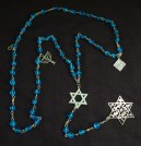 "Prayer counter-USA-Non-traditional-Glass beads with silver chain symbols (Star of David, menorah, matzo)-21"" long"