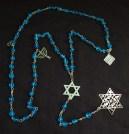 "Prayer counter-USA-Non-traditional-Glass beads with silver chain symbols (Star of David, menorah, matzo)-21"" long"