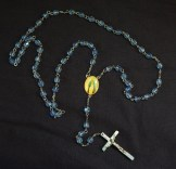 "Prayer counter-Global-Catholic-5 sets of 10 blue beads/Silver crucifix/Medal of Mary-19 1/2"" long"