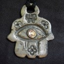 Amulet, Hamsa, pink eye in center
