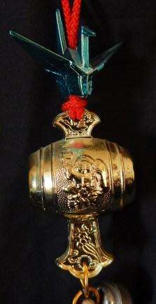 Close-up of sake barrel.