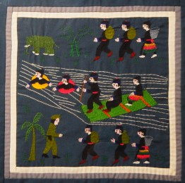 "Decorative-Vietnam/USA-Hmong-Fabric/thread (embroidery)-12 1/2"" x 12 1/2"""