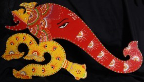 Demonstration of the Hindu faith-India-Hindu-Wood with paint and trim.