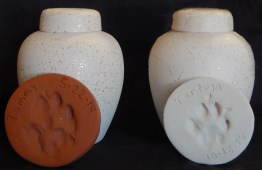 Urns containing ashes of deceased cats with paw prints taken at death-FLK505
