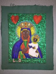 Beaded and sequined portrait of the Vodou divinity Ezili Danto envisioned as the Black Madonna ofCzęstochowa, Port-au-Prince, Haiti, ca. 2011.