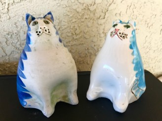 Cat Salt Shakers-Ceramic By Solveig Cox Alexandria, VA. c.1980s.