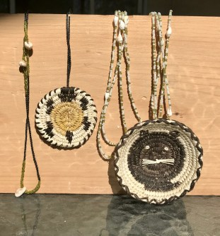 Tohono O'odham Basket and Shell Necklaces-By Christine Johnson, No:liwk, AZ., c. 2006.