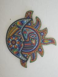 Huichol Beaded Sun and Moon