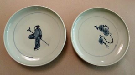 """Small plates; Kyushu, Japan Glazed porcelain, 6"""" diameter, purchased new 2008."""