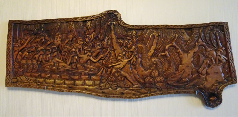 "Storyboard; Republic of Palau Wood, 32"" x 12.5"", purchased new 1990."