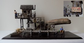 """Fishing tableau. Built by Daniel Goldstein (1910-2006). Drift wood, balsa wood, string, tin bell, paint. Stand measures 12"""" by 22.5""""; structure measures 11"""" high. Made in the 1980s. Photo by Dante Goldstein Ruberto."""