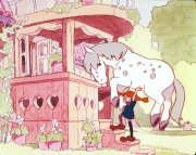 """Pippi Carries Her Horse into Villa Villekulla,"" a photographic slide of a test cell for Nagakutsushita no Pippi, Sekai ichi tsuyoi onna no ko [Pippi Longstocking, Strongest Girl In The World] (1971). http://sensei.rubberslug.com/gallery/inv_info.asp?ItemID=333929"