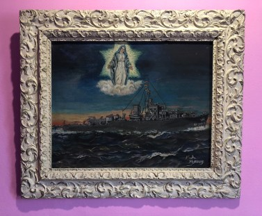 "M.A. Murray, Madonna and Naval Ship Painting, c. 1952, oil and acyclic on canvas board 15"" by 20"" (unframed)"