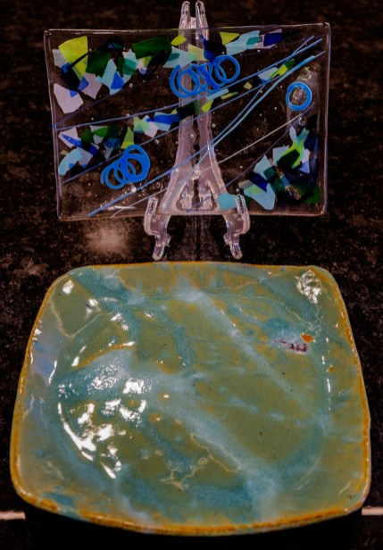 Pottery plate and kiln-formed glass made by my daughter, Madison, as a child.