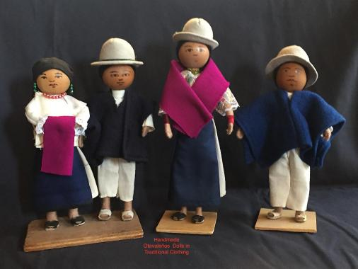 These dolls were made for me by Zulay's relatives in Quinchuqui, Ecuador, when we were shooting the film Whatever Happened to Zulay: An Otavaleña's Journey. The dolls are wearing traditional Otavaleño clothing which many Otavalenõ people wear everyday.