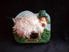 "Purchased in Cork Ireland 2006. Materials: plastic, synthetic yarn, metal, magnet. Dimensions: 3"" x 2.5"" There's so much going on with this sheep, it has soft fur, a ""Celtic"" font, a pot of gold, a hat, and shamrocks, about as much Irish cultural iconography as can possibly fit. This is the sheep that started me down the collecting path."