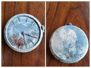 """Pocketwatch with gold case, 1 3/4"""" diameter, possibly given to my grandpa around 1925, when he was a young man."""