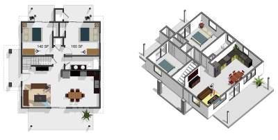 5 bedroom, 2 bathroom, first floor