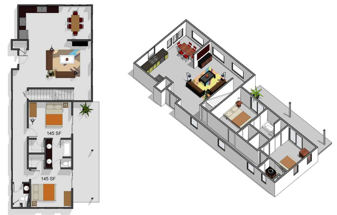 5 bedroom, 2.5 bathroom, first floor