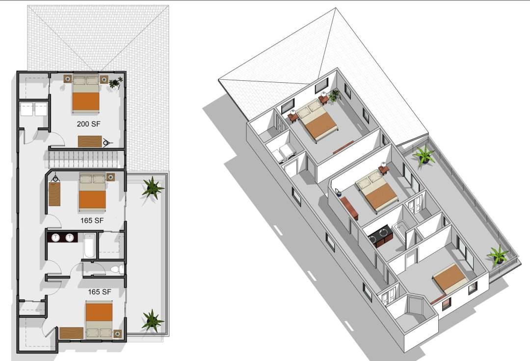 5 bedroom, 2.5 bathroom, second floor