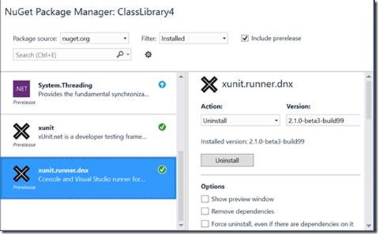 Running XUnit test with ASP NET DNX and TFS 2015 build