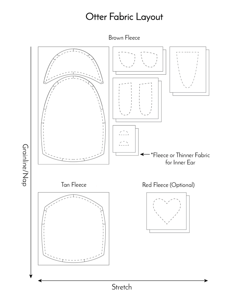 hight resolution of free otter pattern fabric layout fluffmonger
