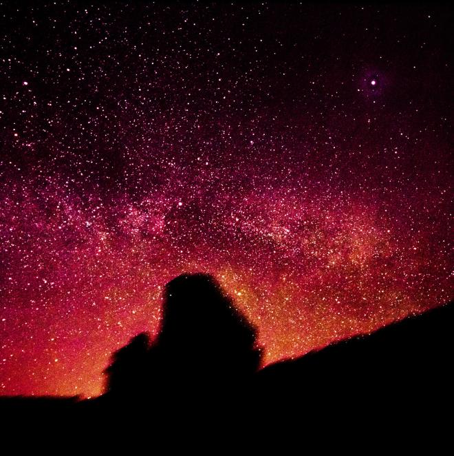 There it is - the Milky Way peeking over the horizon and into our image thanks to statistics and processing.