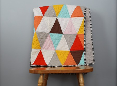 perfect colors triangle quilt - from blue is bleu