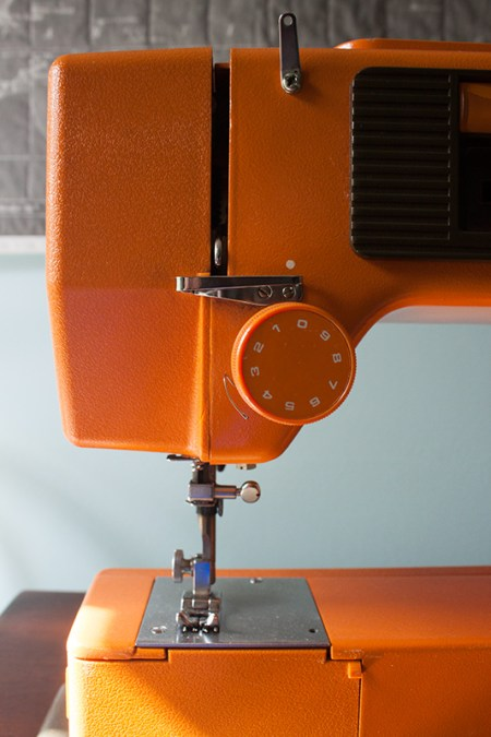 vintage orange sewing machine from hamburg flohmarkt