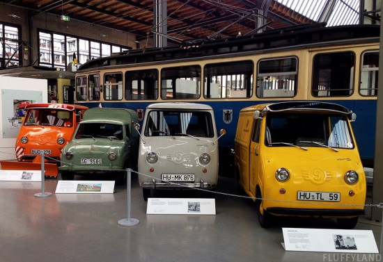 tiny colorful cars at the deutsches verkehrsmuseum