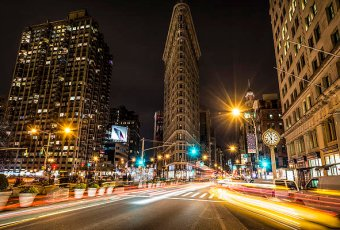 Flatiron Building at Night in New York City