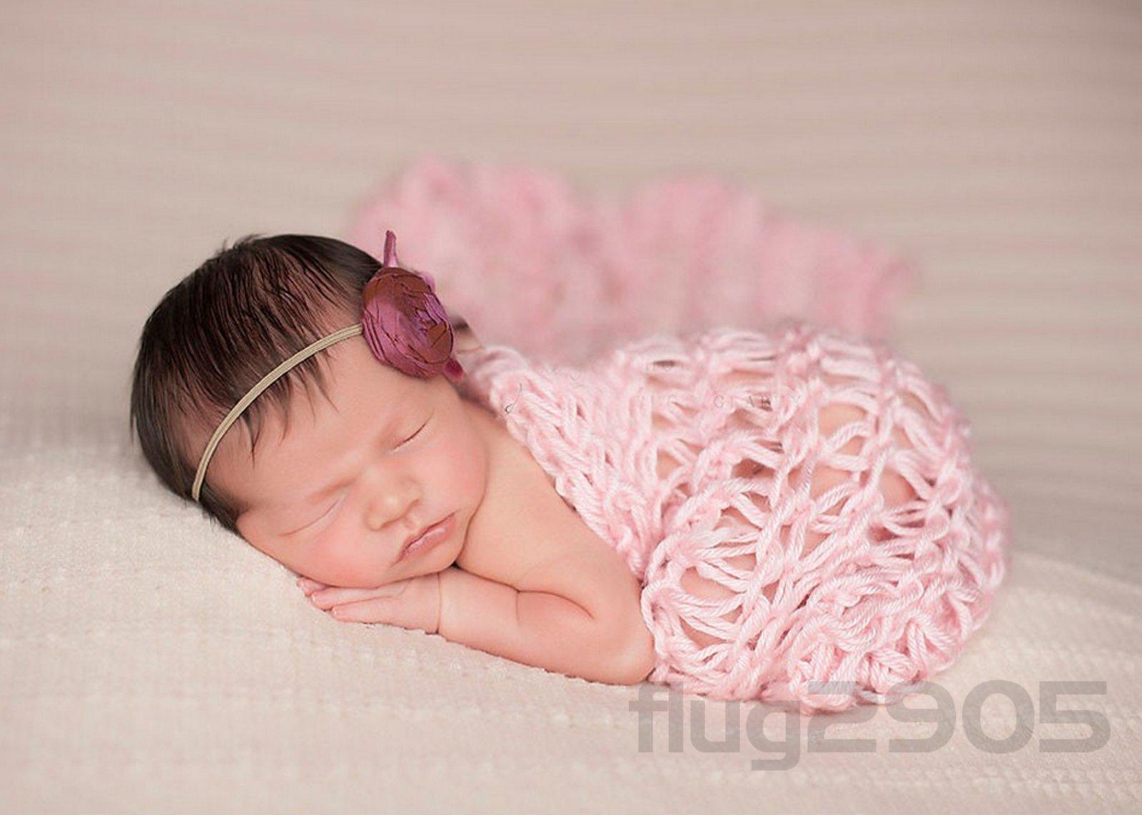 Baby Wrap Grobstrick Decke rosa Fotoshooting Newborn