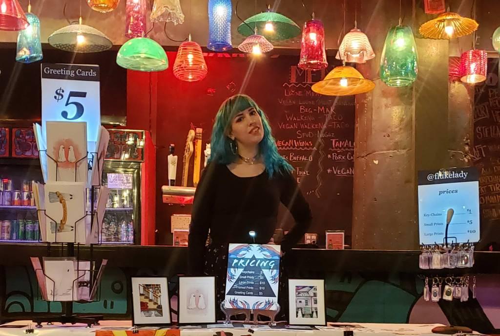 Flukelady vending her artwork at an event in Philadelphia.