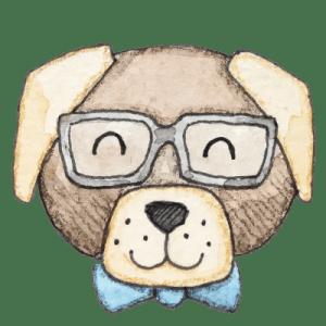 Hund mit Brille_transparenter Hintergrund_Aram und Abra