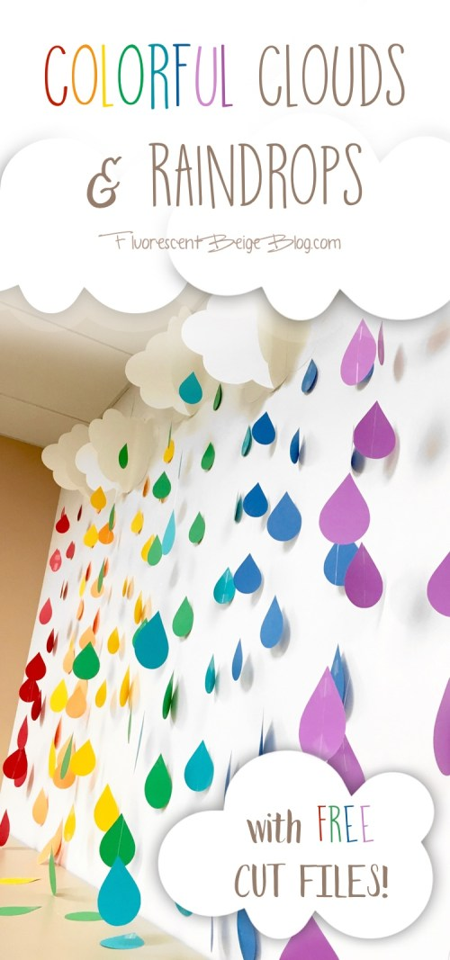 Colorful Clouds & Raindrops with Free Cut Files