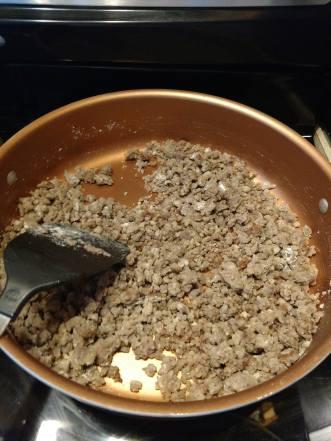 Adding flour to sausage