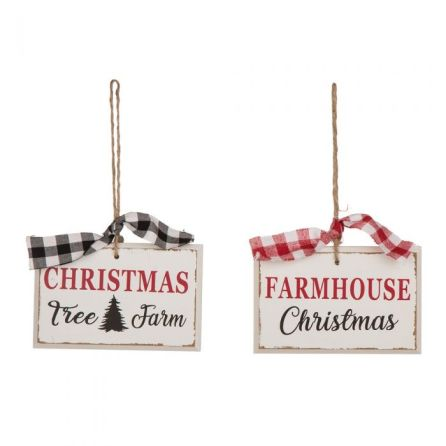 Farmhouse Wooden Black and Red and Green Ornaments
