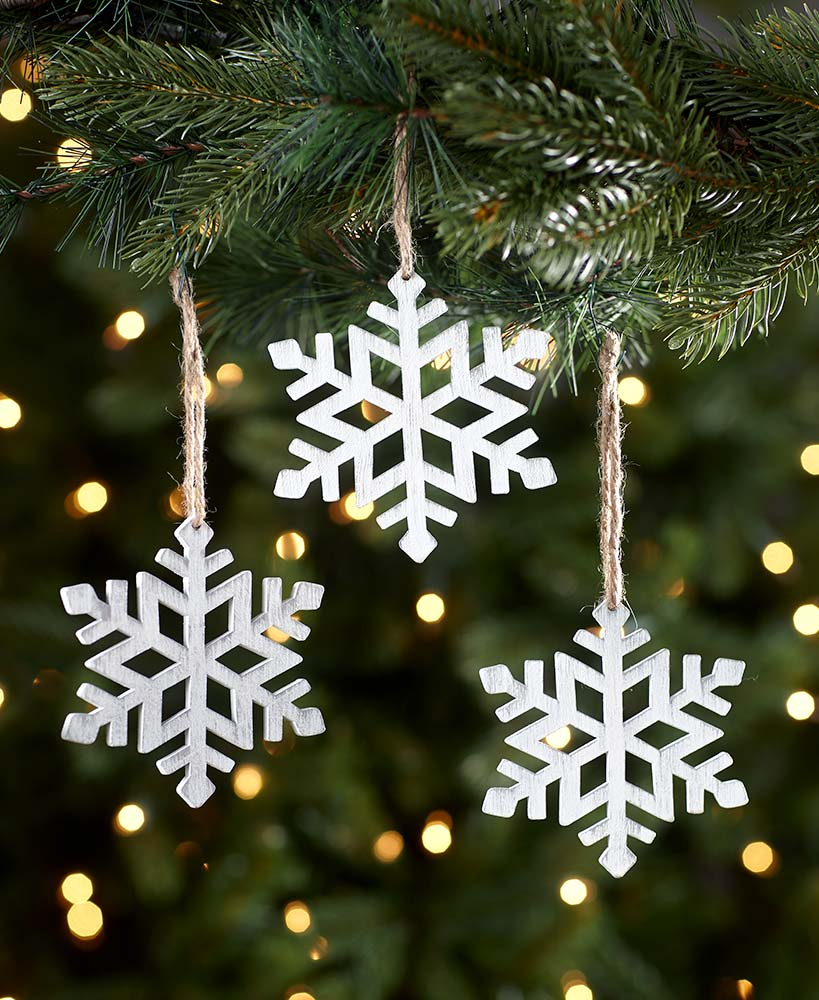 Set of 3 Wooden Snowflake Ornaments