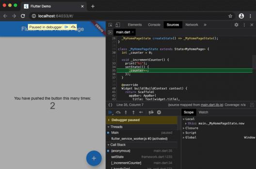debugger in flutter web app